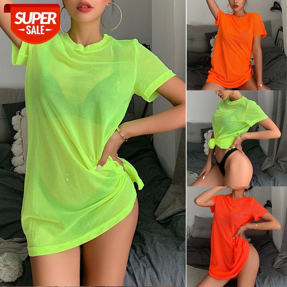 Mulheres Sexy Sheer Malha Biquini Tampa Up Swimwear Swimsuit Banhando Terno Ver através de Manga Curta T-shirt Tops Verão Praia Vestido # ZO1T