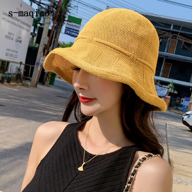 S-Maqiao الصيف قبعة للنساء القطن سترو بيتش الشمس طوي المرنة السفر قابلة للحماية واسعة حماية كاب 2021 القبعات