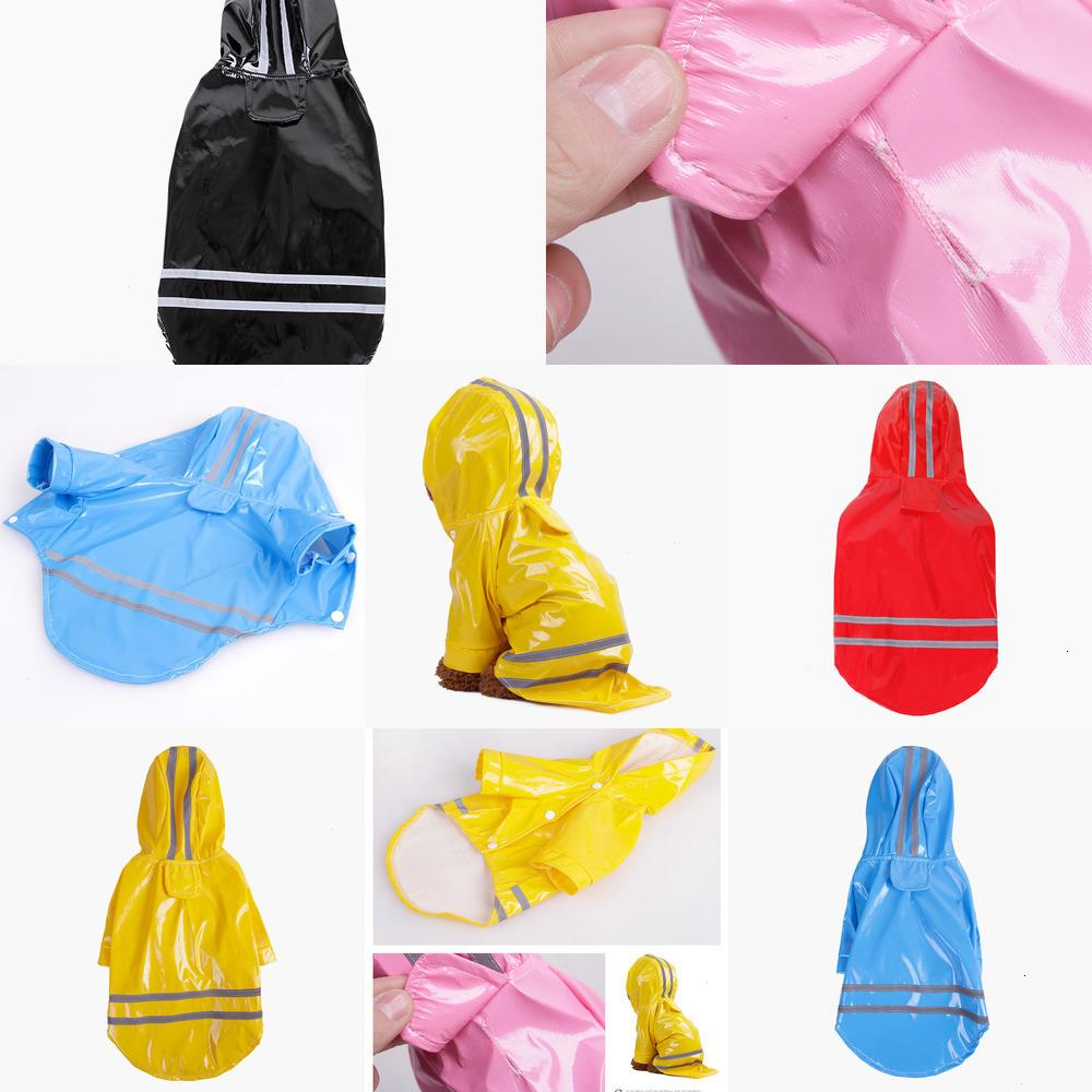 dog clothes pet dog clothes Outdoor Puppy Pet Rain Coat S-XL Waterproof Jacket hooded raincoat PU reflective for Dogs Cats apparel 2 EI2I