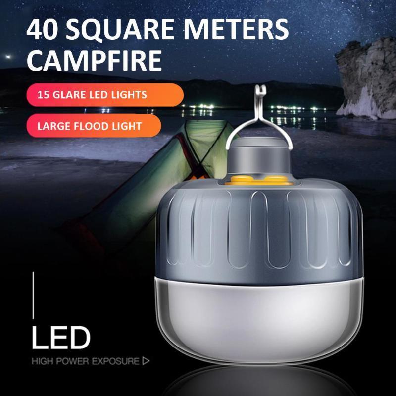 Emergência portátil lanterna dc interfac impermeável led tenda bulbo noite luz pesca 10w caminhadas reparando lâmpadas lanternas