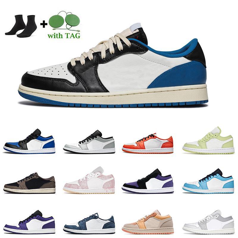 High Quality Jumpman 1s Mens Women Jordan 1 Low Basketball Shoes NIK Outdoor Sports Travis Scotts Fragment Hyper Royal University Blue UNC Air Jorden Retro Trainers