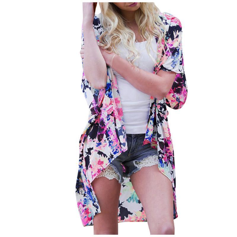 Mode Womens Printing Cardigan Kurzarm Meer Strand Swock Bluse Tops Freizeit Komfortabel 2021 Trends Person Frauen Badebekleidung