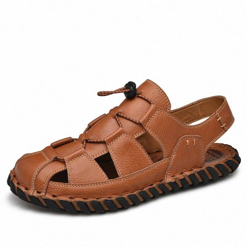 Fechado dedo do pé feito à mão costura Casual Sandalias Sandalias Homme Cuir Sandálias de Couro Genuíno Homens 63sy #