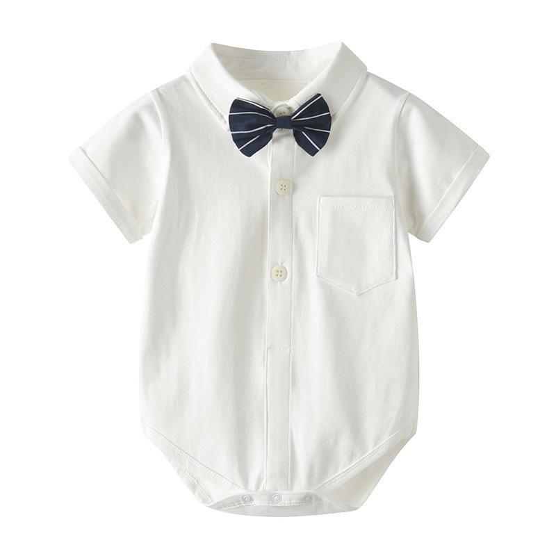 Blanc Baby Boys Gentlemen BodySuits Vêtements À Manches courtes Née Beebes Beebes Cotton Onesie Jumpsuit Enfants Enfants Tenues d'été Combinaisons