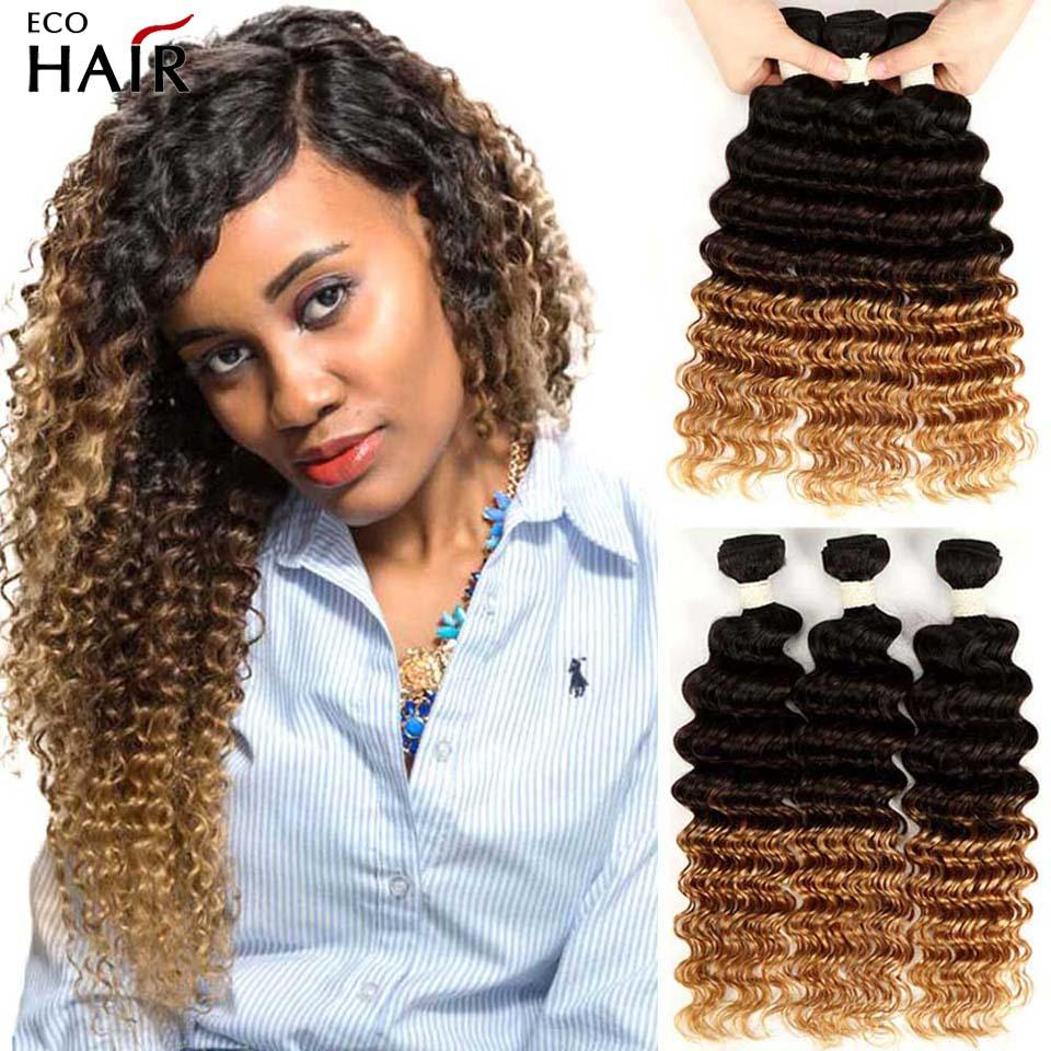 Ombre Deep Wave Bundles Mink Indian Human Hair Extensions Beautiful Bohemian Curly Blonde Remy Weaves Bundle 1B 4 27