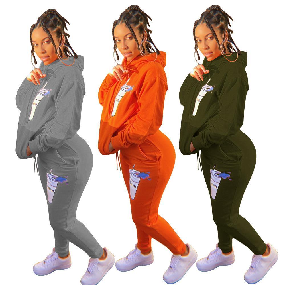 Женский спортивный костюм осенью женщин 2 шт. Tougsusuit Топы и брюки наряд женские сплошные цветные напечатанные с длинным рукавом спортивный сопоставление