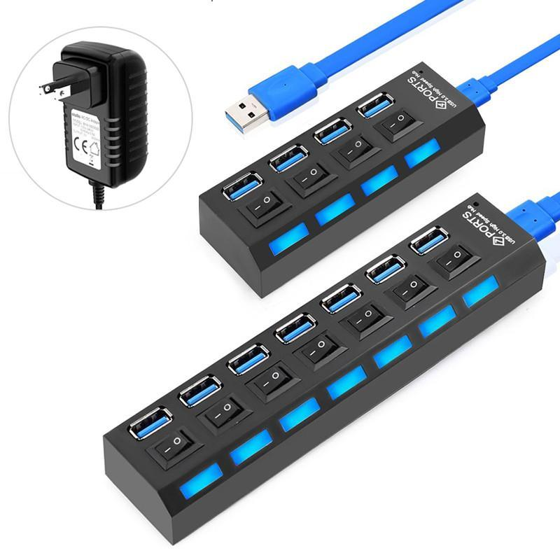 USB 3.0 Splitter 3 0 Multi Port с адаптером питания Многократный HAB выключатель для компьютерных аксессуаров компьютерных аксессуаров