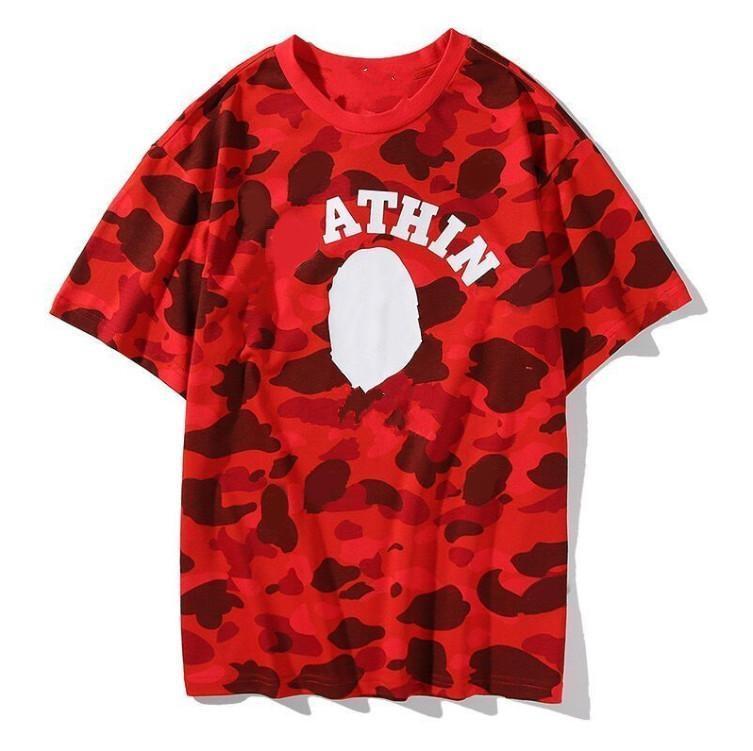 2020AW 여름 위장 상어 망 및 여자 동향 캐주얼 커플 하프 소매 순수 코튼 짧은 티셔츠