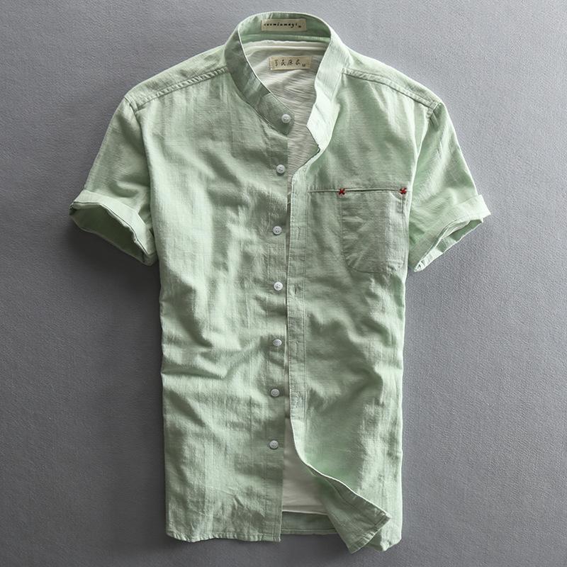Slim Fit Mandarinkragen Kurzarm Leinen Baumwollhemd Männer Weiße grüne dunkelblaue Männer lässig Sommerhemden mit Tasche