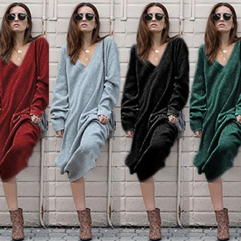 Mulheres sexy inverno manga longa malha vestido macio camisa quente camisola solta camisola v garganta magro elástico senhoras grandes maxi vestidos casuais