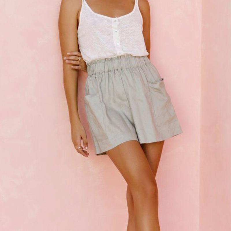 Verão casual solto sólido calções de algodão mulheres moda lace up esporte alta cintura larga perna com bolsos mulheres