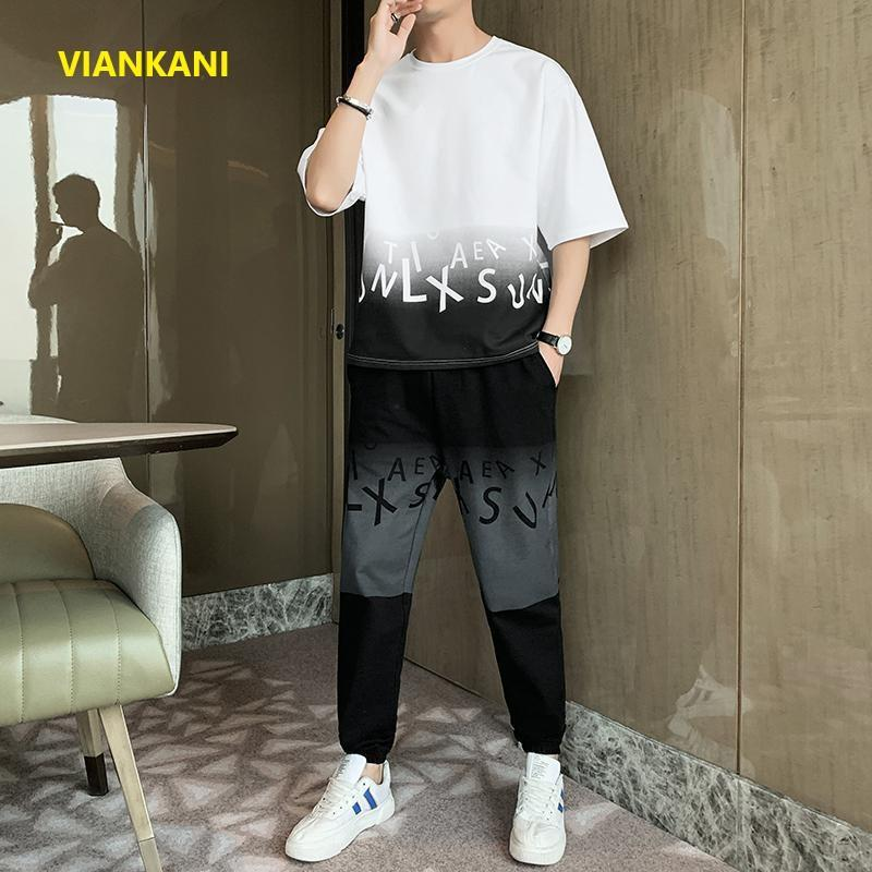 Men's Tracksuits Summer Suit Casual Loose O-Neck T-Shirt Plus Breathable Ice Silk Shorts Trendy Street Size Clothing 4XL