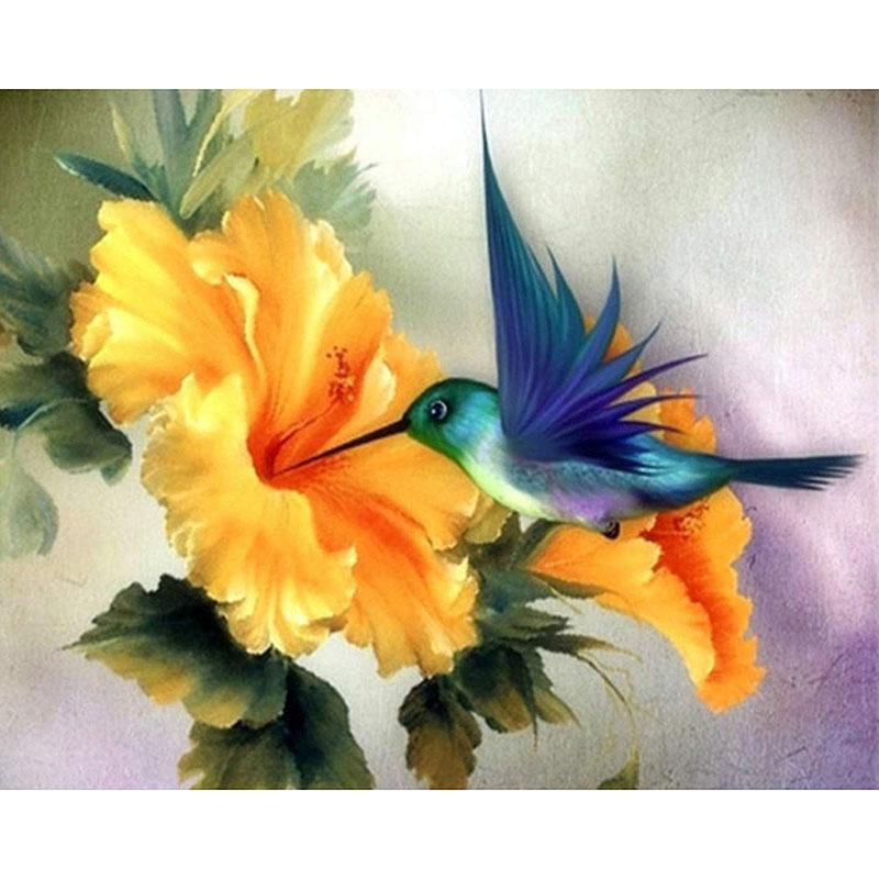 Paintings Painting By Numbers DIY Drop 40x50 50x65cm Bird Picking Honey Bluebird Animal Canvas Wedding Decoration Art Picture Gift