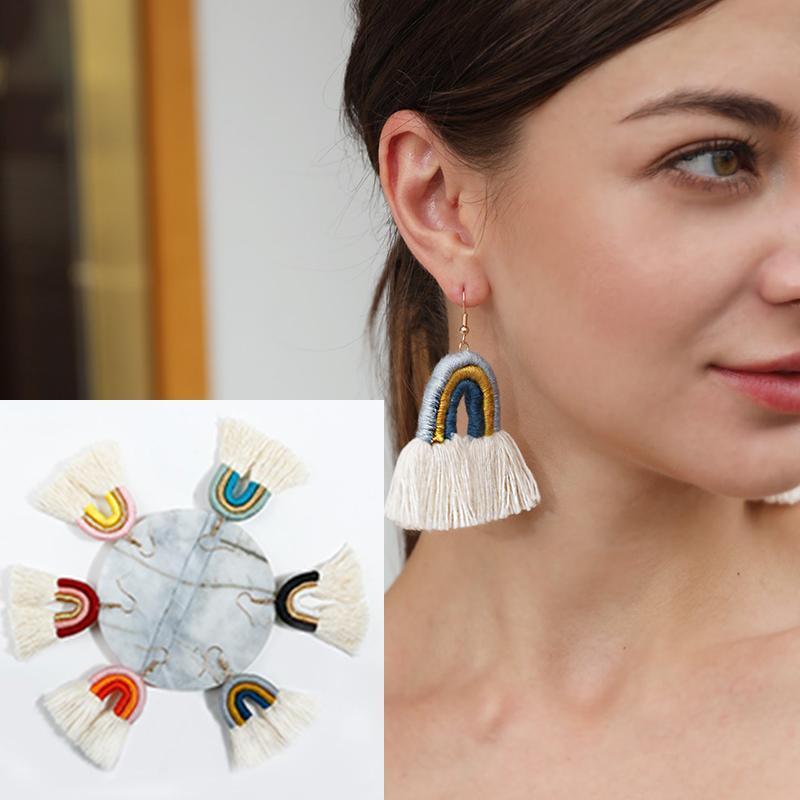 Brincos de Borla Arco-íris Em forma u feminino algodão tecido à mão femininos joias dangle avize