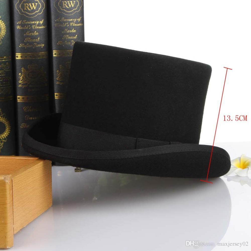 2020 Gemvie 13.5 سنتيمتر 100٪ الصوف فيلت أعلى قبعة للرجال فيدورا للنساء جنون hatter حلي اسطوانة قبعة الرجل ديربي قبعة الساحر