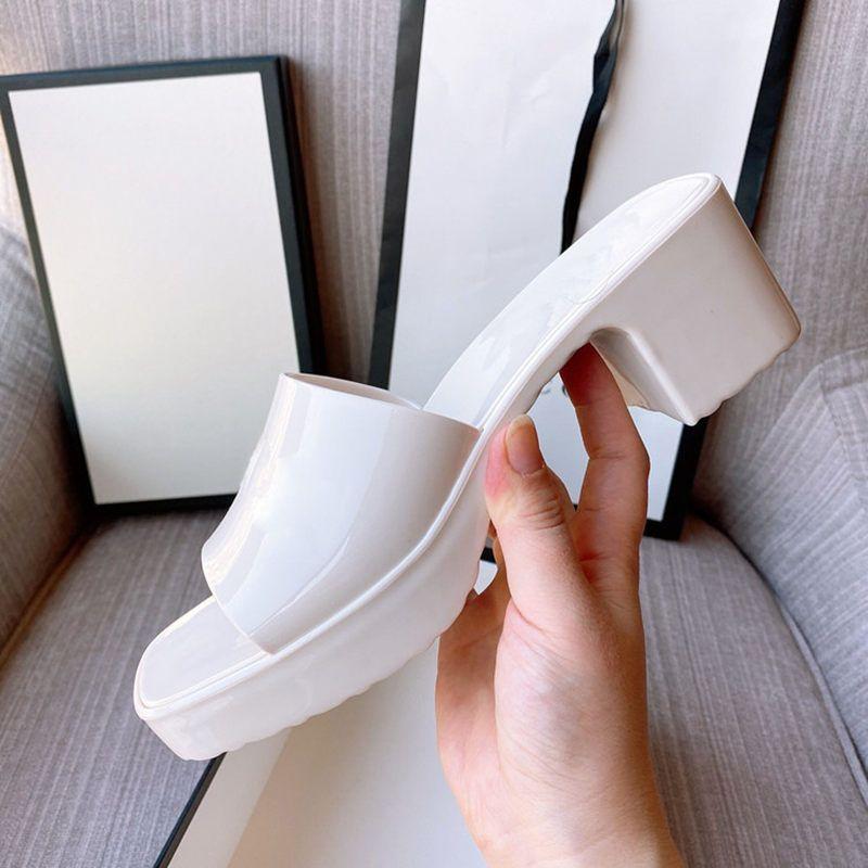 2021 mulheres sandálias saltos altos corrediça de borracha sandália plataforma slipper chunky 2.4 calcanhar sapatos de altura de salto verão flip flops com caixa tamanho 35-41