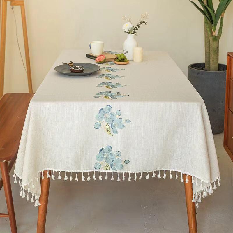 도매 노르딕 수 놓은 식탁보 준비 가정용 가정용 직사각형 식당 홈 탁상용 탁상용 장식 테이블 천으로 만든