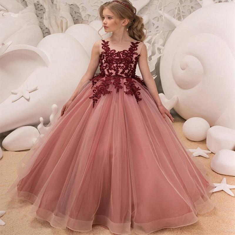 Vestidos de niña Flor de la muchacha de la muchacha de encargo hecha para la boda Primera comunión Partido Prom Princess Gown Pageant