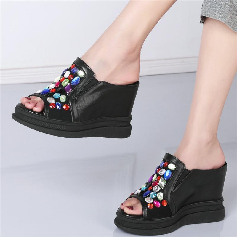 Piattaforma Pompe Scarpe da donna Guestie in vera pelle Tacco alto Sandali Gladiatore Gladiatore Femmina Tondo Tondo Sneakers Moda Casual