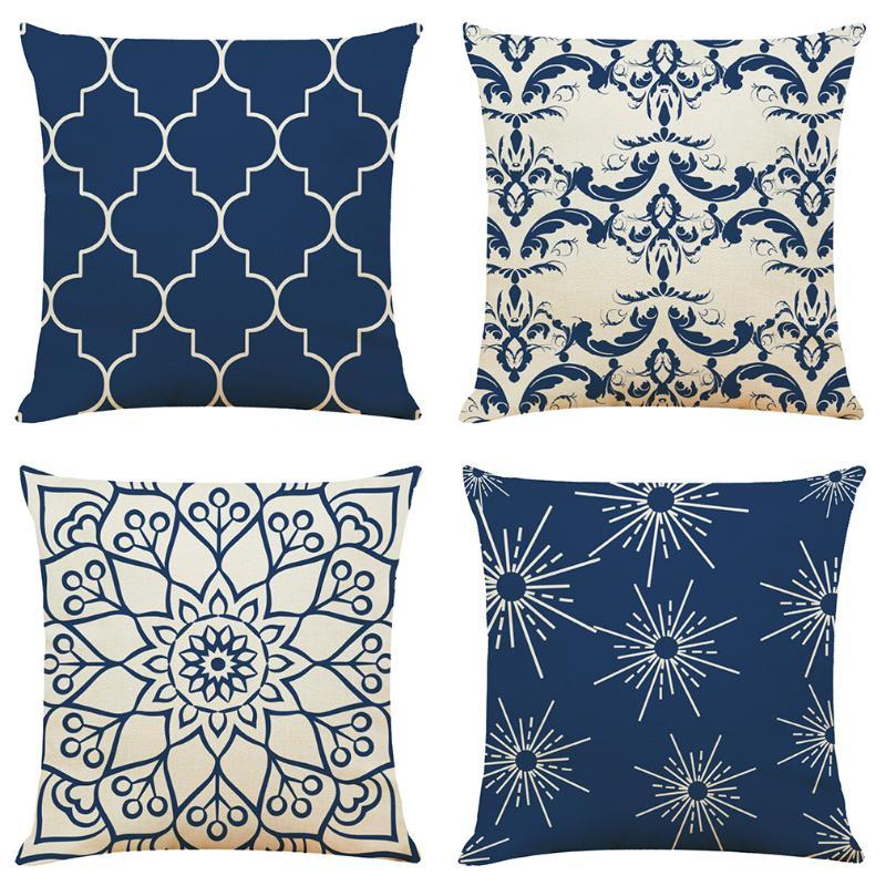 Cushion/Decorative Pillow Blue Geometric Cushion Cover Hoga 45x45cm Decorative Funda Cojines Housse De Coussin Nordic Home Decoration Car Th