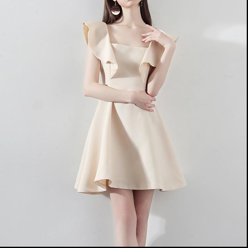 Damenkleid Elegante Frauen Mini-Partei Sexy Blütenblatthülse Slim Beige Vestidos