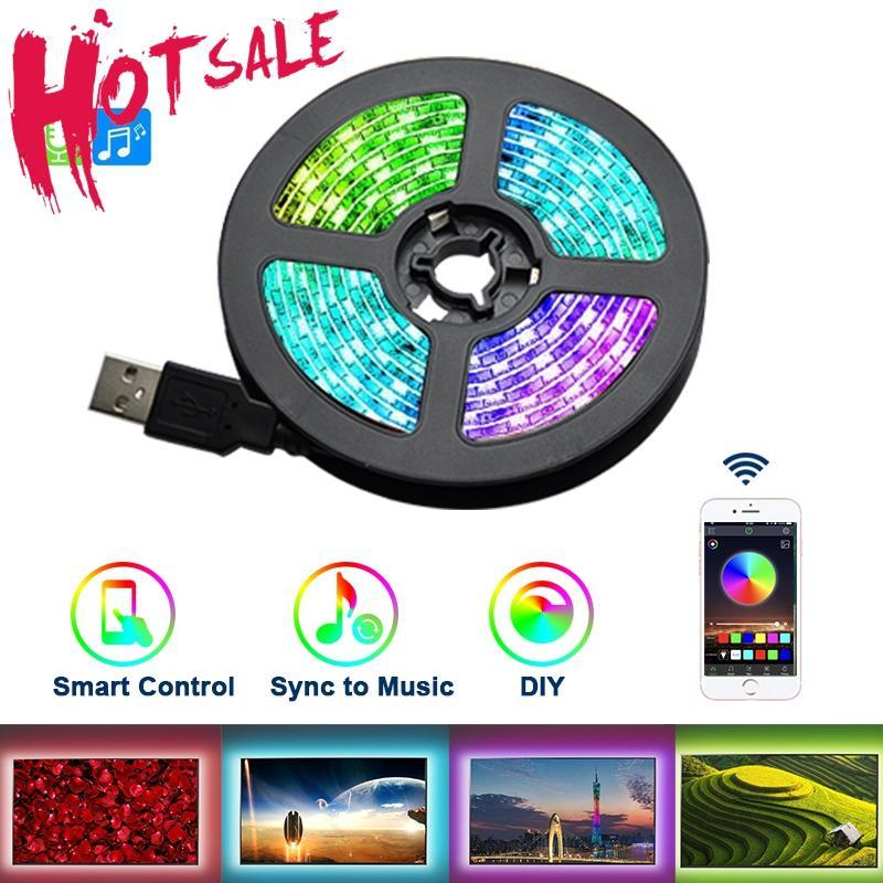 LED 라이트 스트립 USB 유연한 리본 테이프 거실 야간 램프 0.5 / 1 / 2 / 3M 음악 블루투스 앱 제어 스트립