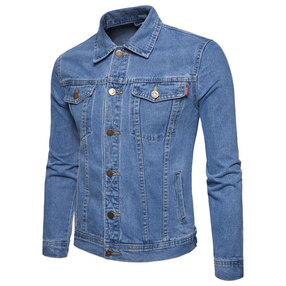 새로운 사계절 청소년 영국 기질 슬림 피트 남자 디자이너 데님 자켓 대형 솔리드 컬러 자켓