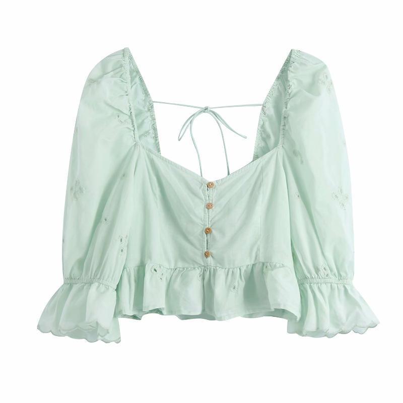 여성 자수 탑스 밖으로 Square neckline half 소매 셔츠 chic 숙녀 패션 캐주얼 옷 여자의 티셔츠