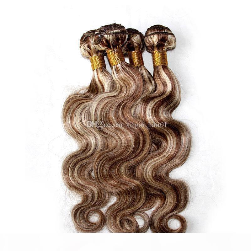 Mélange Piano Couleur Cheveux Hair Bundles Body Wave Tonalité N ° 8 613 Mettez en surbrillance Marron Blonde Couleur Vierge Vierge Holid Cheveux Extensions