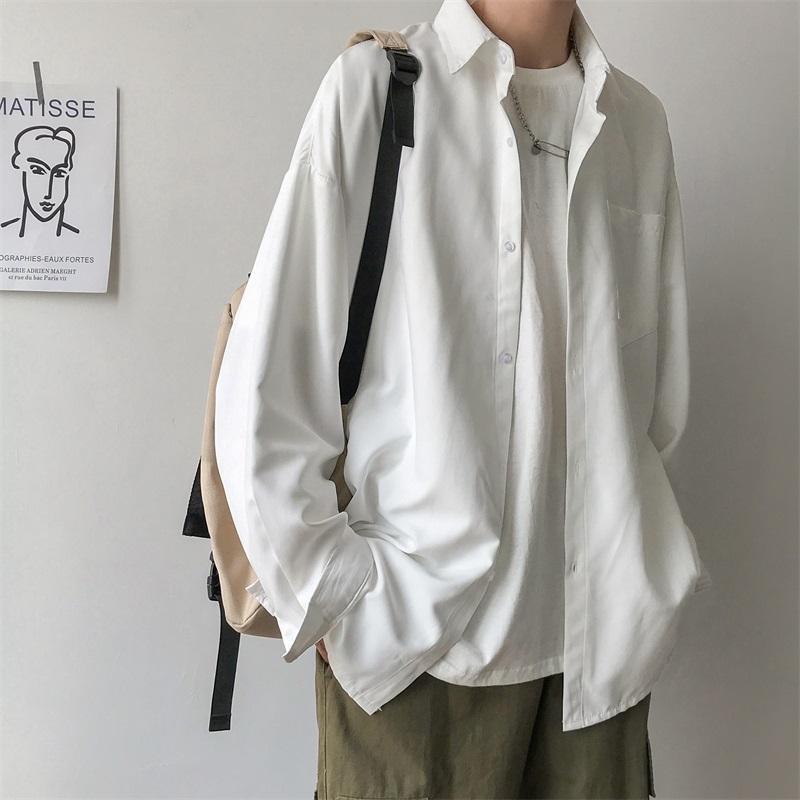 봄 가을 긴 소매 학생 솔리드 컬러 셔츠 남성 헐렁한 트렌드 패션 캐주얼 얇은 셔츠 캐미 사 남자 의류 BC50CS
