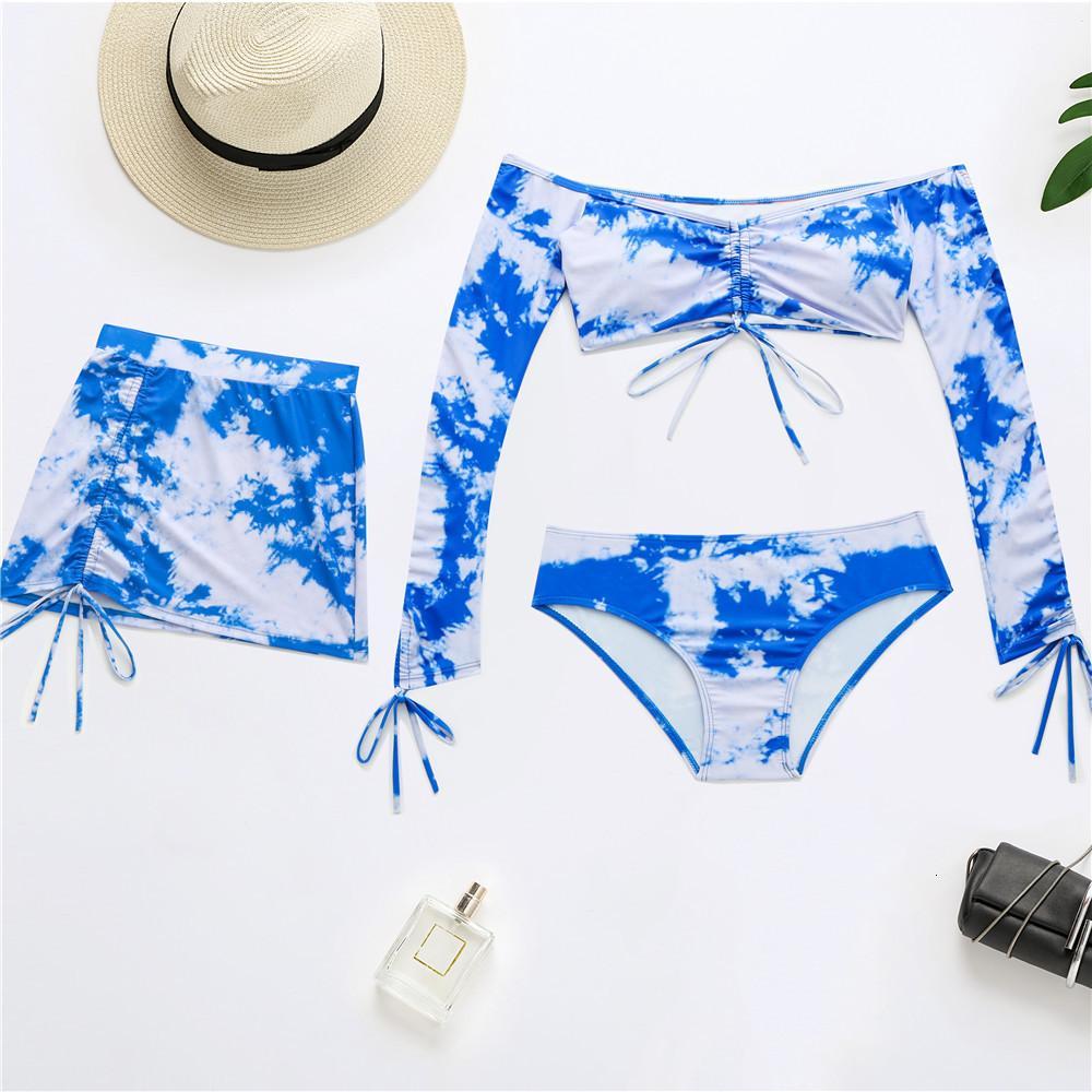 Three-Piece Bikini Set Swimsuit Ladies Printed Tie-Dye Long-sleeved Two Colors Vintage Top Selling