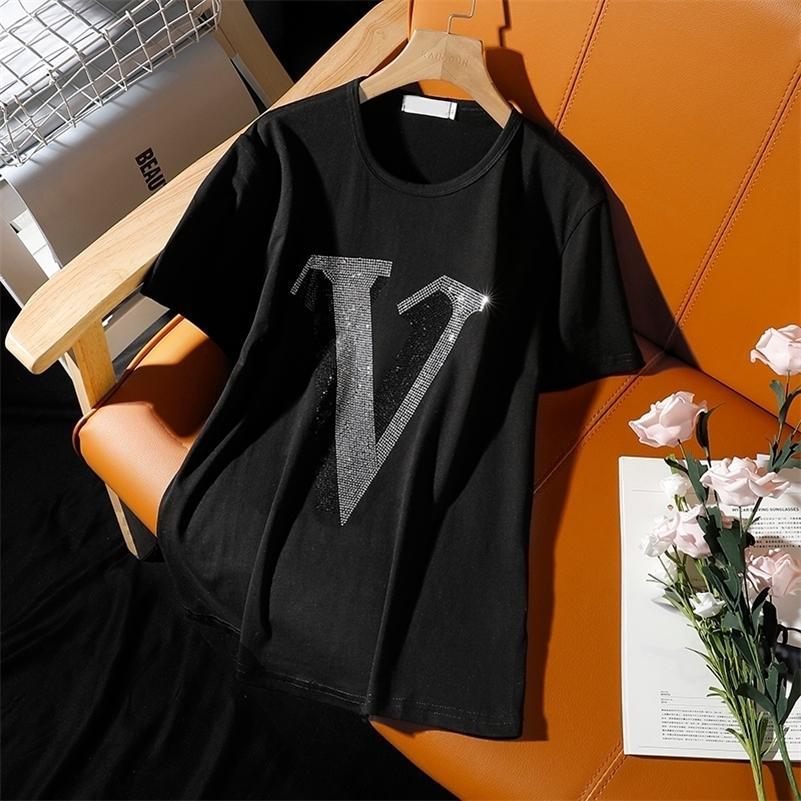 Fashion Loisirs Diamants chauds Alphabet V T-shirt à manches courtes Femme 2021 Été Nouvelle perceuse chaude Libre Plus Taille Femmes Tops 210317
