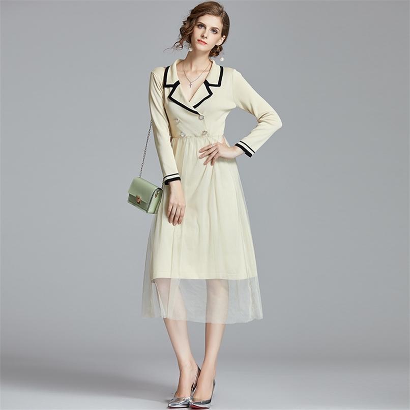 Outono malha vestido moda mulheres slim malha camisola malha retalhos vestidos vintage senhoras elegante vestidos longo vestidos mujer 210521
