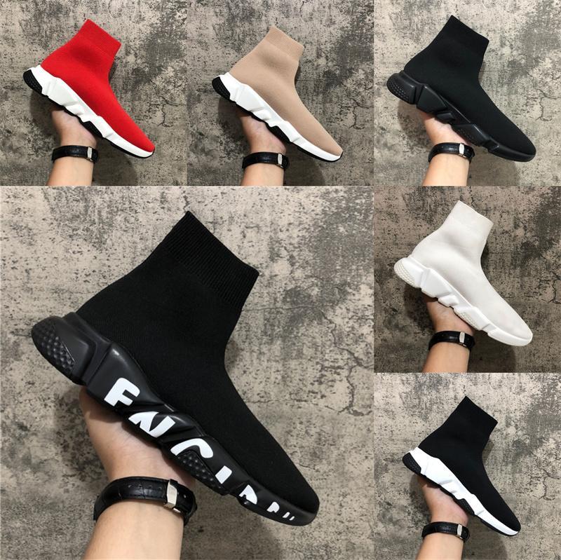 2021 스피드 트레이너 신발 파티 블랙 화이트 레드 하이 양말 신발 망 여성 패션 부츠 트리플 블랙 캐주얼 신발 크기 36-46 상자