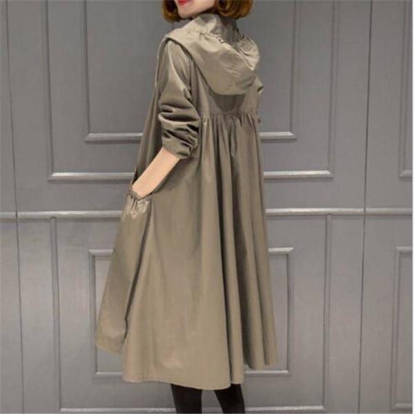 2021 Primavera Autunno New Women's Corean Fashion Giacca con cappuccio Giacche a mezza lunghezza sopra il ginocchio Allentato e sottile a vento a vento a vento