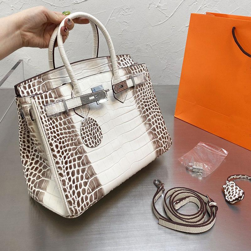 Large Capacity Package Tote Bag Women Handbag Alligator Design Genuine Leather Shopping Shoulder Bags Fashion Diamond Hardware Stamped Lock Graceful Handbags