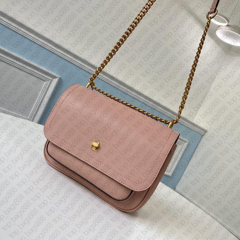 Top 7A Qualität M57071 23 cm lock * me kette kleiner umhängetasche gold drehen schloss rosa kalfskin echte echte leder geldbörsen handtaschen frauen umhängetaschen