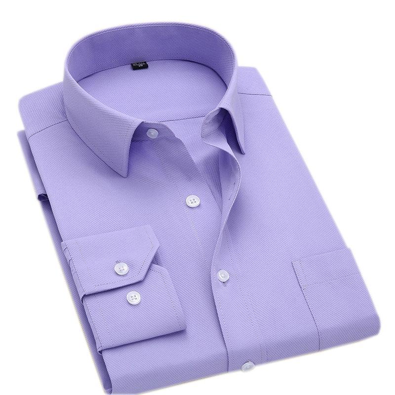 Macrosea Классический стиль мужские твердые рубашки с длинным рукавом мужские повседневные рубашки удобные дышащие мужские офисные одежды 210322