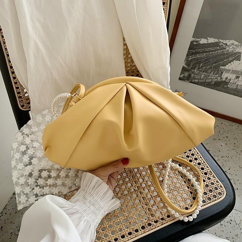 Evening Bags Female Bag 2021 Luxury Fashion Fold Soft Leather Ladies Handbag Simple Pure Color Pearl Portable Shoulder Underarm