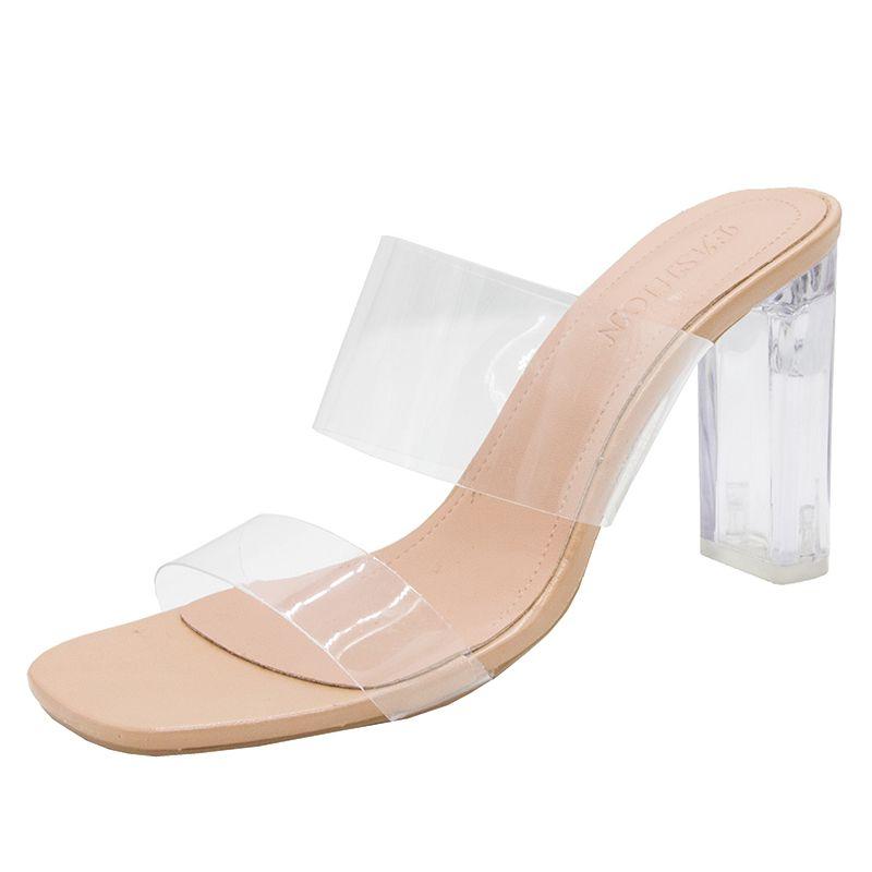 Şeffaf Yüksek Topuklu Kadın Kare Toe Sandalet Yaz Ayakkabı Kadın Temizle Yüksek Pompalar Düğün Jöle Buty Damskie Topuklu Terlik Oidtyeiqht