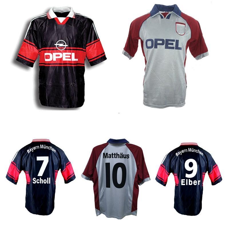 1997 1998 1999 Matthaus elber 레트로 축구 유니폼 Scholl Effenberg Basler Bayern Munich Lizarazu Kuffour Jancker 빈티지 클래식 축구 셔츠