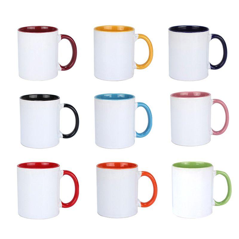 320 ملليلتر التسامي فارغة السيراميك القدح اللون الداخلي نقل الحرارة كأس القهوة المنزلية مقبض كؤوس المياه 9 ألوان