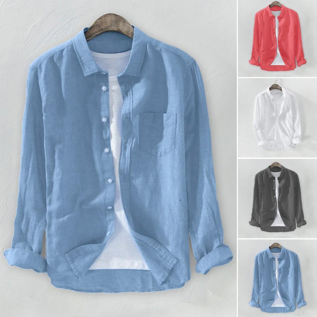 2020 летние плюс размер мужской мешковатый твердое хлопок льняное с длинным рукавом кнопка карманные рубашки M-3XL Camisa Masculina Camisas Hombre