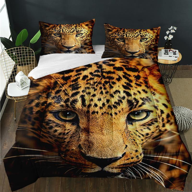 Bettdecken Sets 3D drucken Super Trinke Quilting Dschungel Wilde Tiere Leopard benutzerdefinierte Mode Quilt Geeignet für Erwachsene Haus Schlafzimmer Dekor