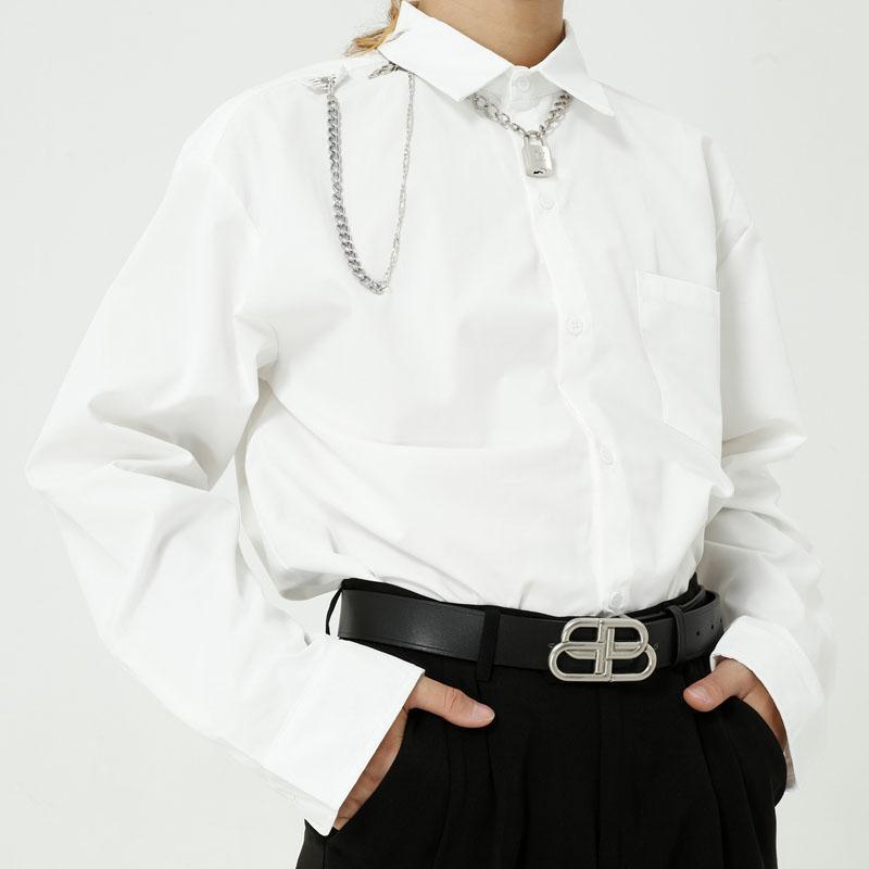 Männlicher Japan Korea Streetwear Mode Hip Hop Schwarz Weiß Hemd Männer Langarm Lässige Kette Anhänger Herrenhemden