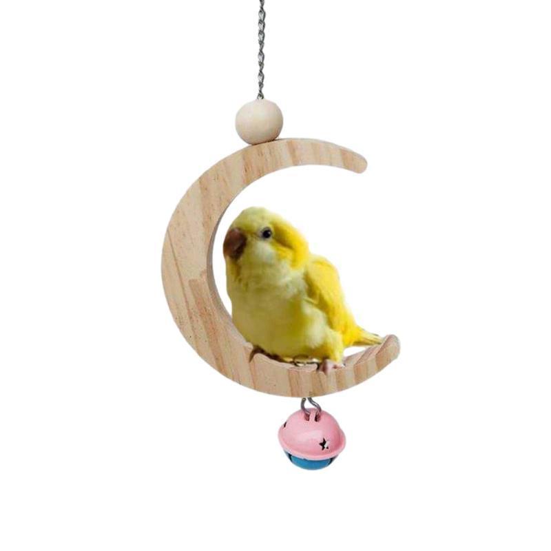 الطيور سوينغ اللعب شكل القمر شنقا للبغاء الببغاء الحاجز قفص لعبة مع جرس cockatiels magaws finches لوازم أخرى