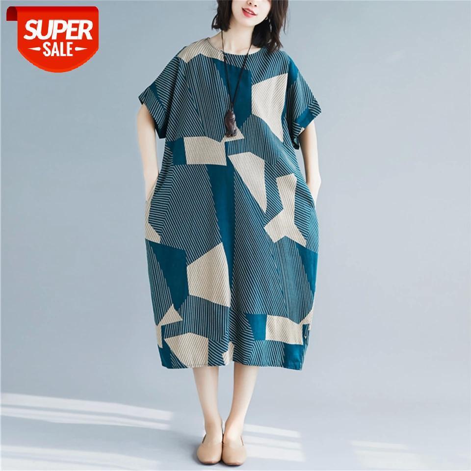 Supermiss Mulheres Plus Size Roupa Vestidos 2020 Verão Longo Impresso Midi Algodão Femme Casual Robe Vestidos Senhoras Praia Sundress # VB1Z