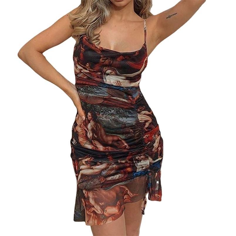 Donne Dress Dress Summer Rucchizzato Rucchitato con cordoncino stampato senza maniche Spaghetti Strap senza spalline Asimmetrici 210522