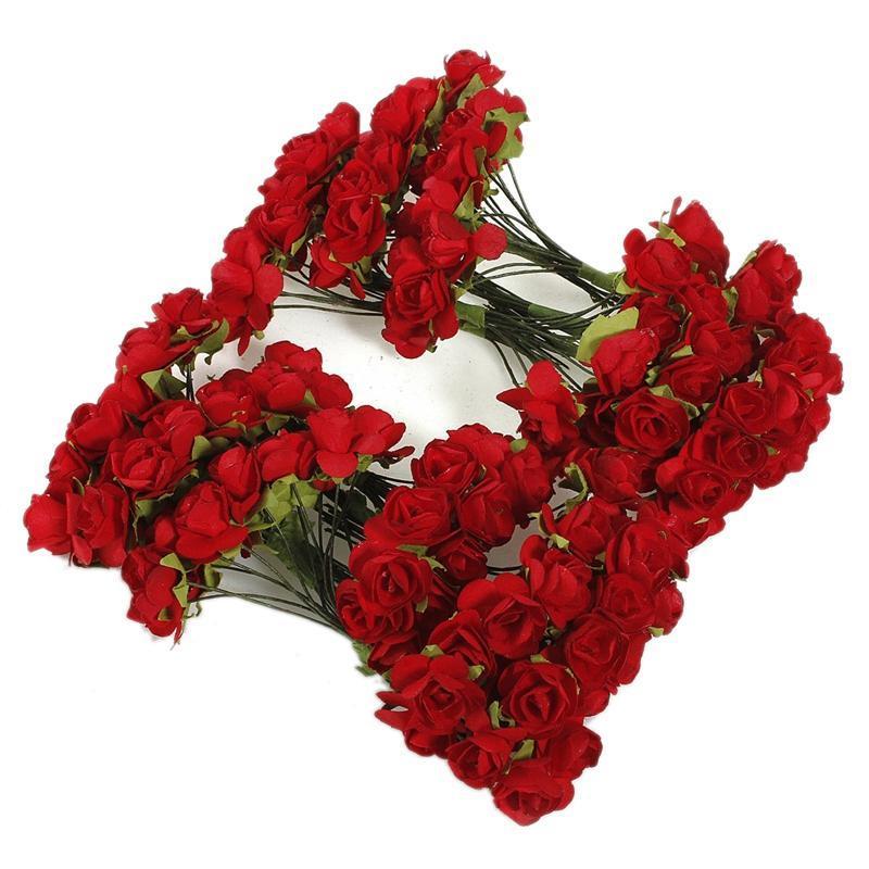 Искусственная бумага красная роза цветок свадьба ремесло декор декоративные цветы венки