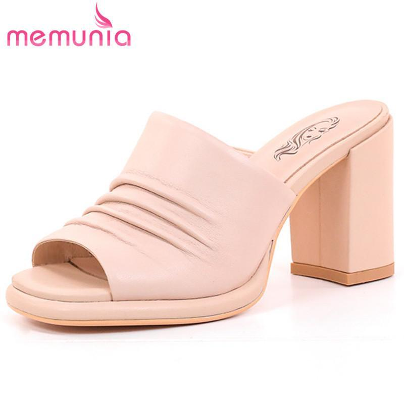 Arrive Genuine Leather Shoes Women High Heels Platform Party Summer Slipper Casual Slippers
